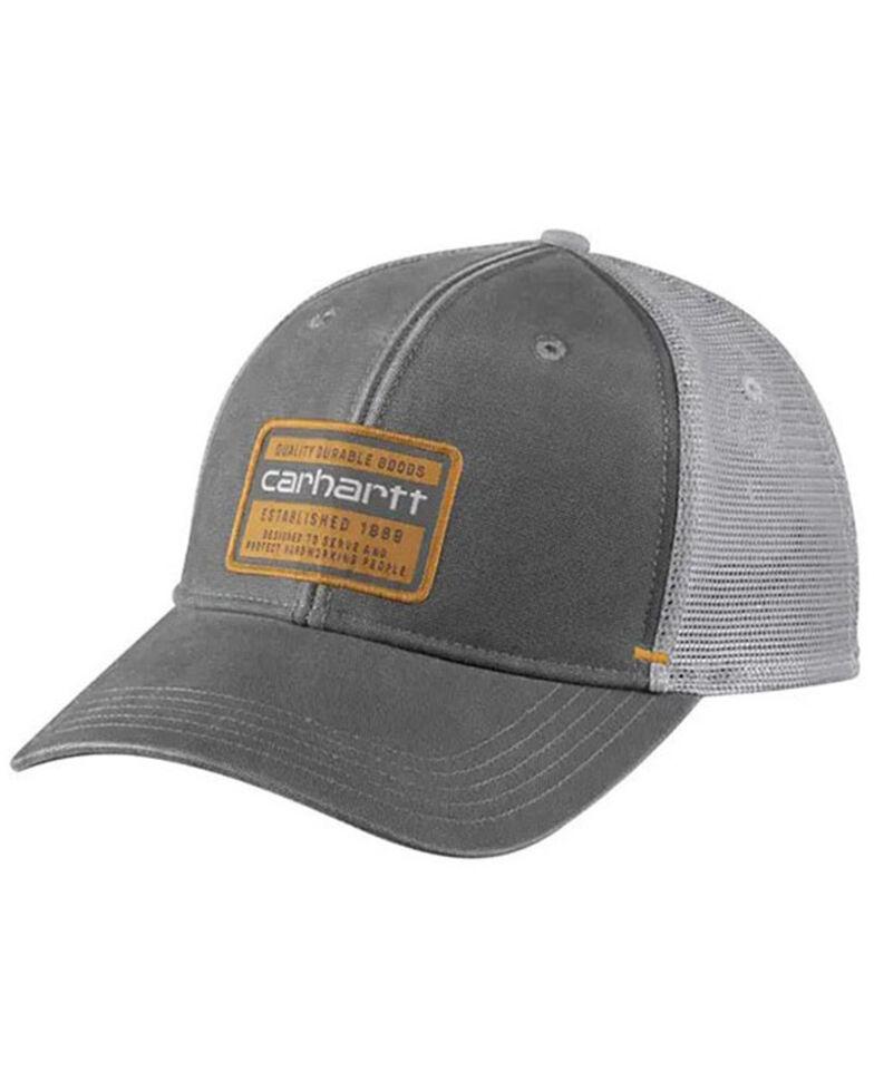 Carhartt Men's Quality Goods Logo Patch Canvas Mesh-Back Trucker Cap , Charcoal, hi-res