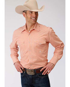 Roper Men's Amarillo Oasis Mini Check Plaid Snap Long Sleeve Western Shirt , Orange, hi-res