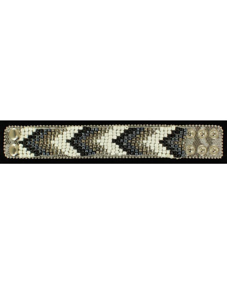Blazin Roxx Beaded Chevron Cuff Bracelet, Blk/white, hi-res