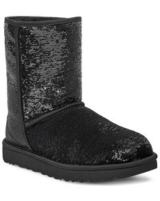UGG Women's Short Cosmos Sequin Boots, Black, hi-res