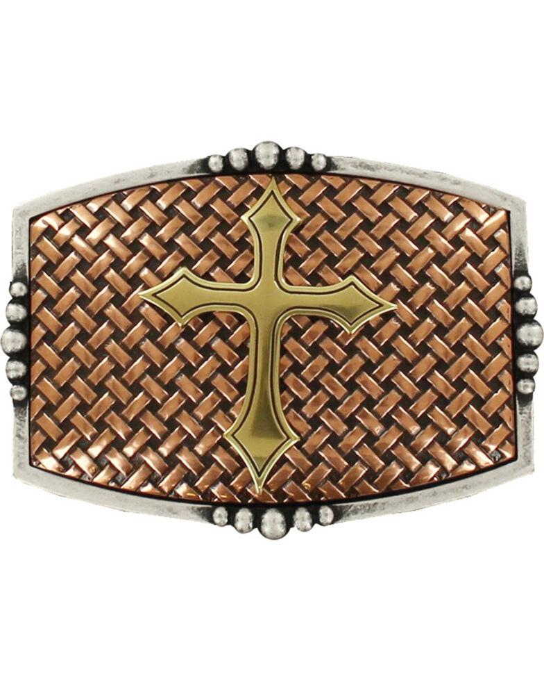 Nocona Men's Copper Basketweave With Cross Belt Buckle , Multi, hi-res