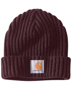 Carhartt Women's Wine Rib Knit Beanie , Wine, hi-res