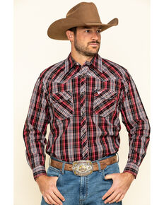 Cowboy Hardware Men's Chili Heeler Plaid Long Sleeve Western Shirt , Chilli, hi-res