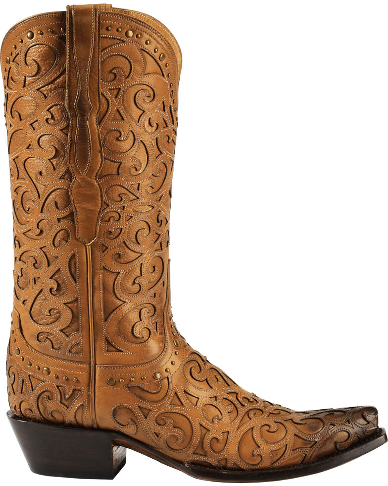cf0844df022 Lucchese Women's Sierra Laser-Cut Overlay Western Boots