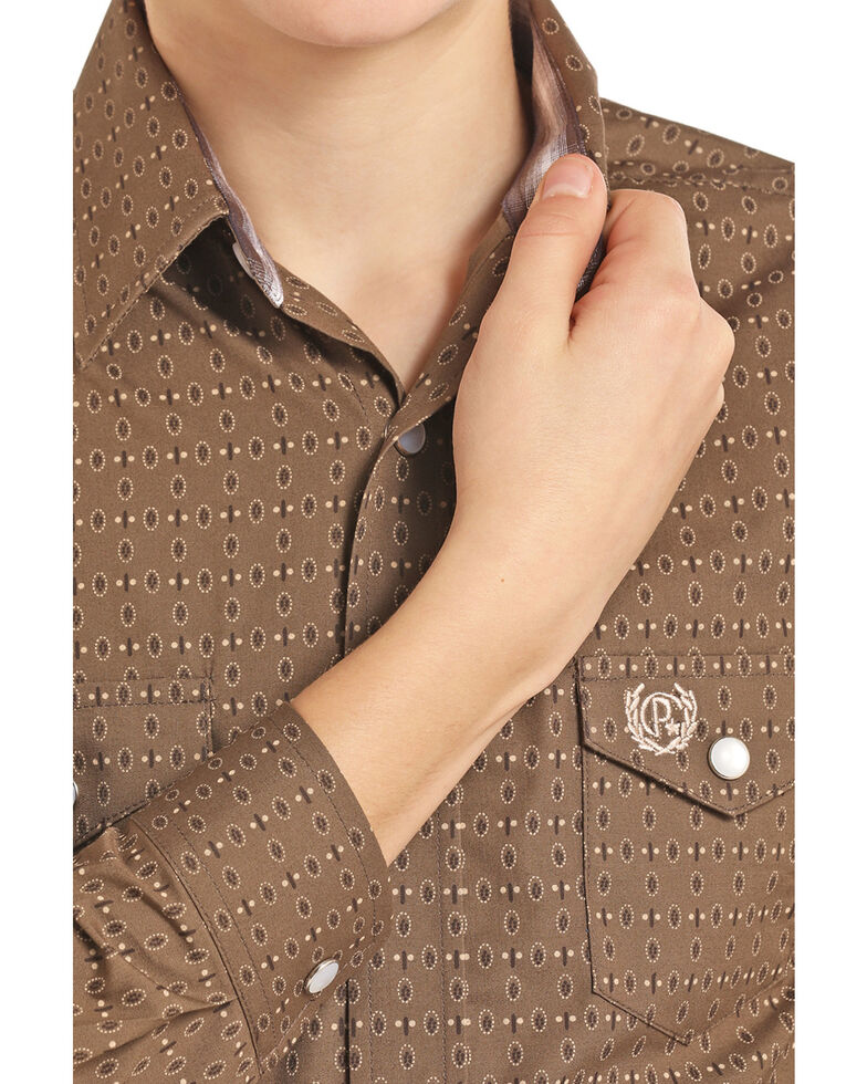 Panhandle Select Boys' Brown Brushed Poplin Paisley Print Long Sleeve Western Shirt , Brown, hi-res