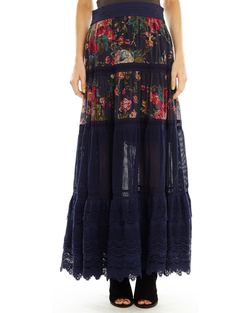 Aratta Women's Boho Skirt, Dark Blue, hi-res