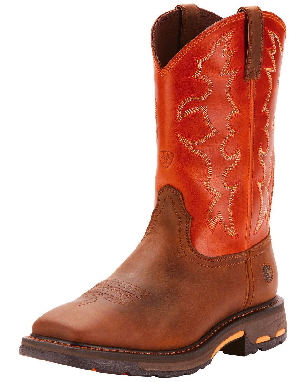 Ariat Men's Workhog Square Toe Work Boots, Brown, hi-res