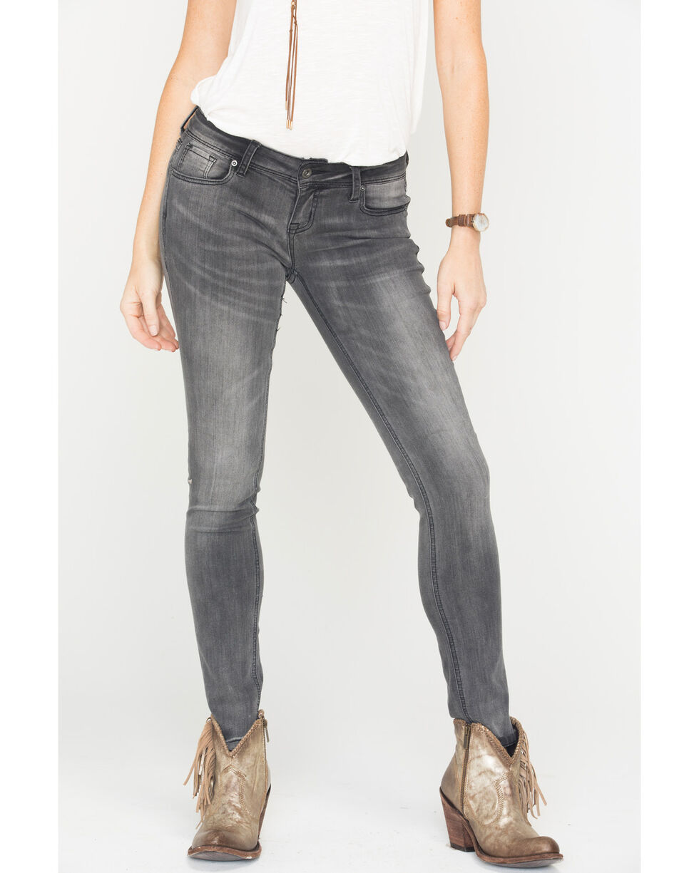 Grace in LA Women's Black Moto Skinny Jeans , Black, hi-res