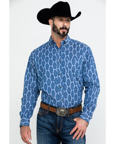 Ariat Men's Ajax Stretch Paisley Print Long Sleeve Western Shirt , Blue, hi-res