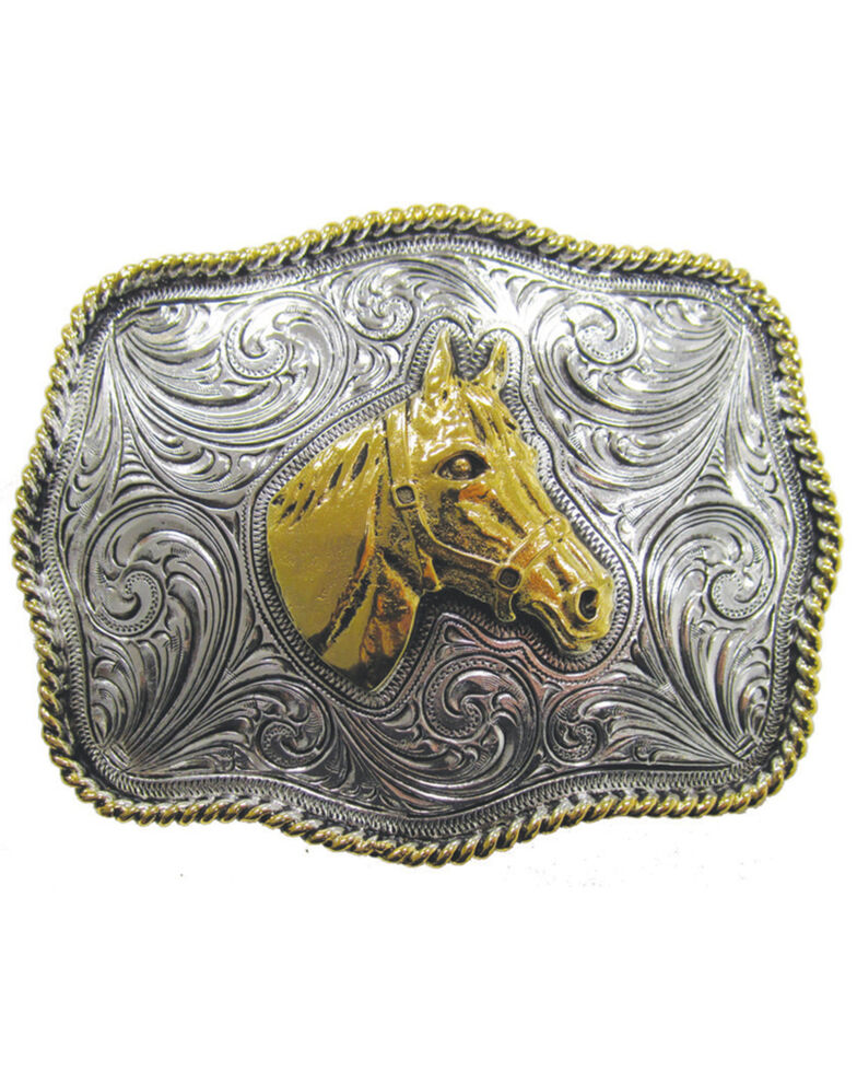 And West Two-Tone Horse Buckle, Gold, hi-res