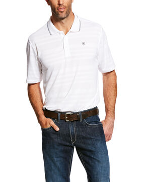 Ariat Men's White Edge Striped TEK Polo Shirt , White, hi-res