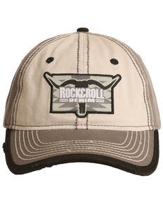 Rock & Roll Cowboy Men's Steer Head Logo Ball Cap , Brown, hi-res