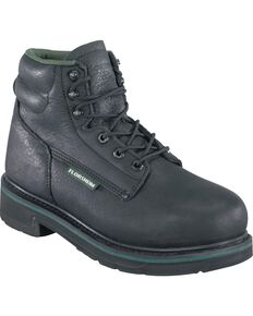 "Florsheim Men's Utility 6"" Work Boots - Steel Toe, Black, hi-res"