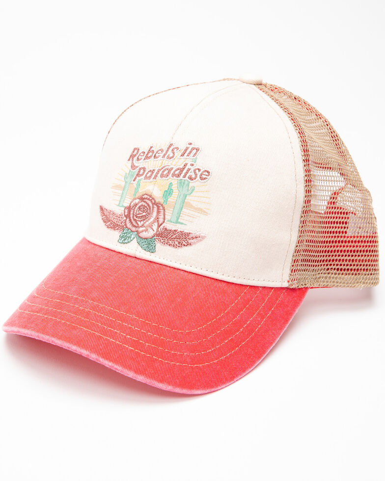 Shyanne Women's Rebels In Paradise Mesh Cap , Red, hi-res
