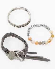 Shyanne Women's Slate Sparkle Multi Braided Druzy Tassel Bracelet Set, Slate, hi-res
