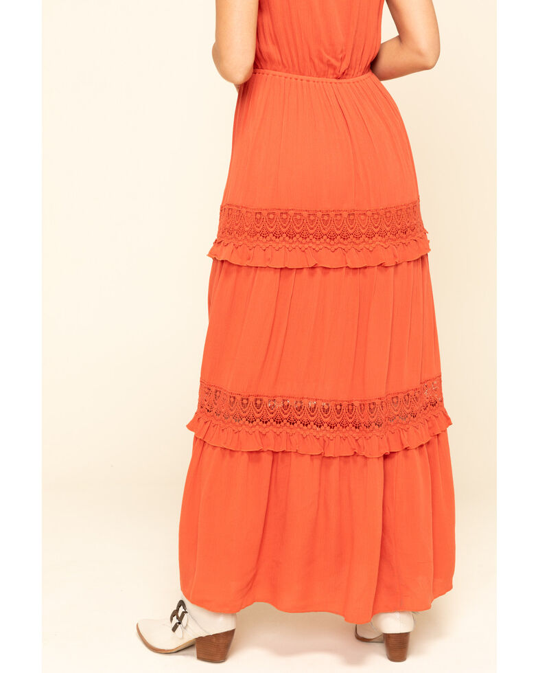 Cotton & Rye Women's Rust Crochet Tiered Maxi Dress, Rust Copper, hi-res