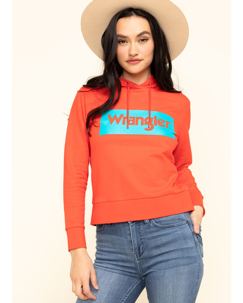 Wrangler Modern Women's Red High Rib Retro Sweatshirt Logo Hoodie, Red, hi-res