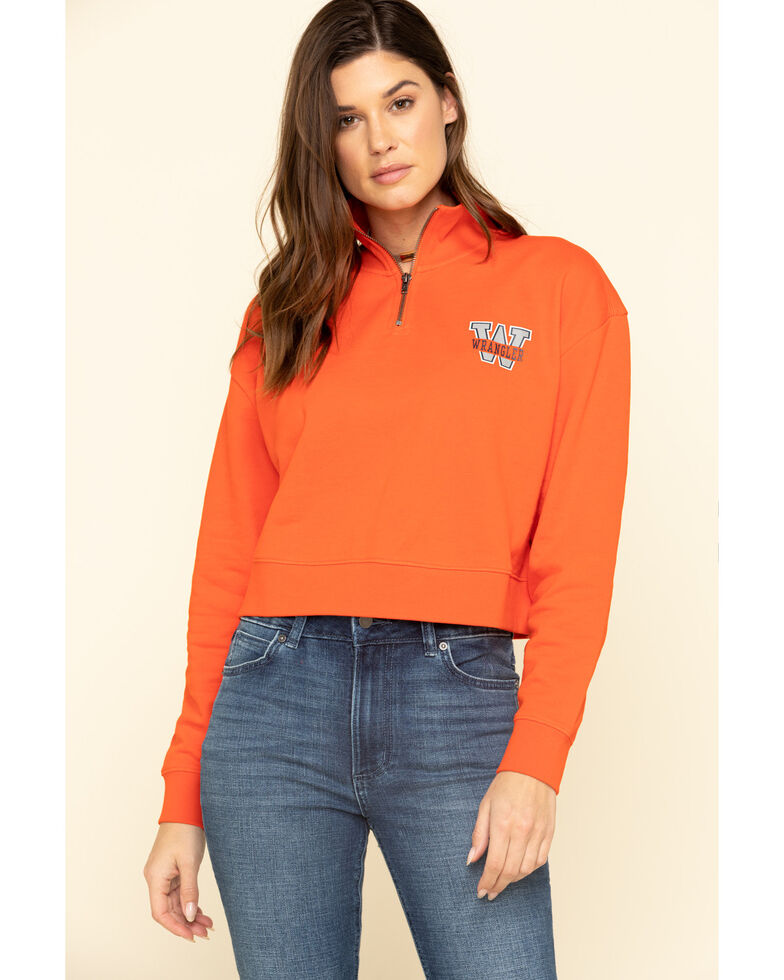 Wrangler Modern Women's Orange 1/4 Zip Sweatshirt, Orange, hi-res