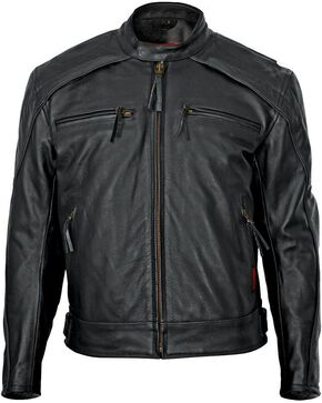 Milwaukee Men's Warrior Leather Motorcycle Jacket, Black, hi-res