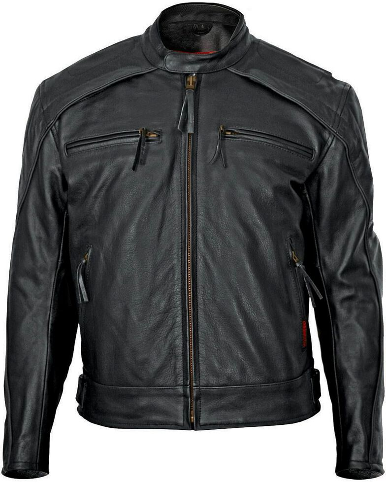 Milwaukee Men's Warrior Leather Motorcycle Jacket, Black, hi-res