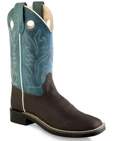 Old West Boys' Ultra Flex Western Boots - Wide Square Toe, Brown, hi-res