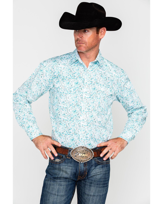 Panhandle Men/'s Cow Skull Scenic Border Print Long Sleeve Western Shirt  Multi