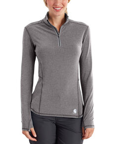 Carhartt Women's Force Ferndale Quarter Zip Shirt , Medium Grey, hi-res
