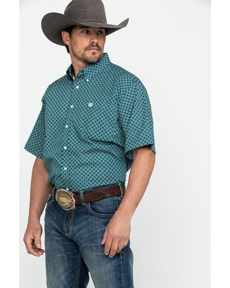 Cinch Men's Teal Tencel Geo Print Short Sleeve Western Shirt , Teal, hi-res
