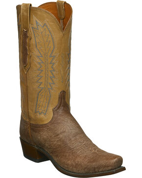 Lucchese Men's Handmade Harrison Tan Sueded Sheep Western Boots - Snip Toe, Tan, hi-res