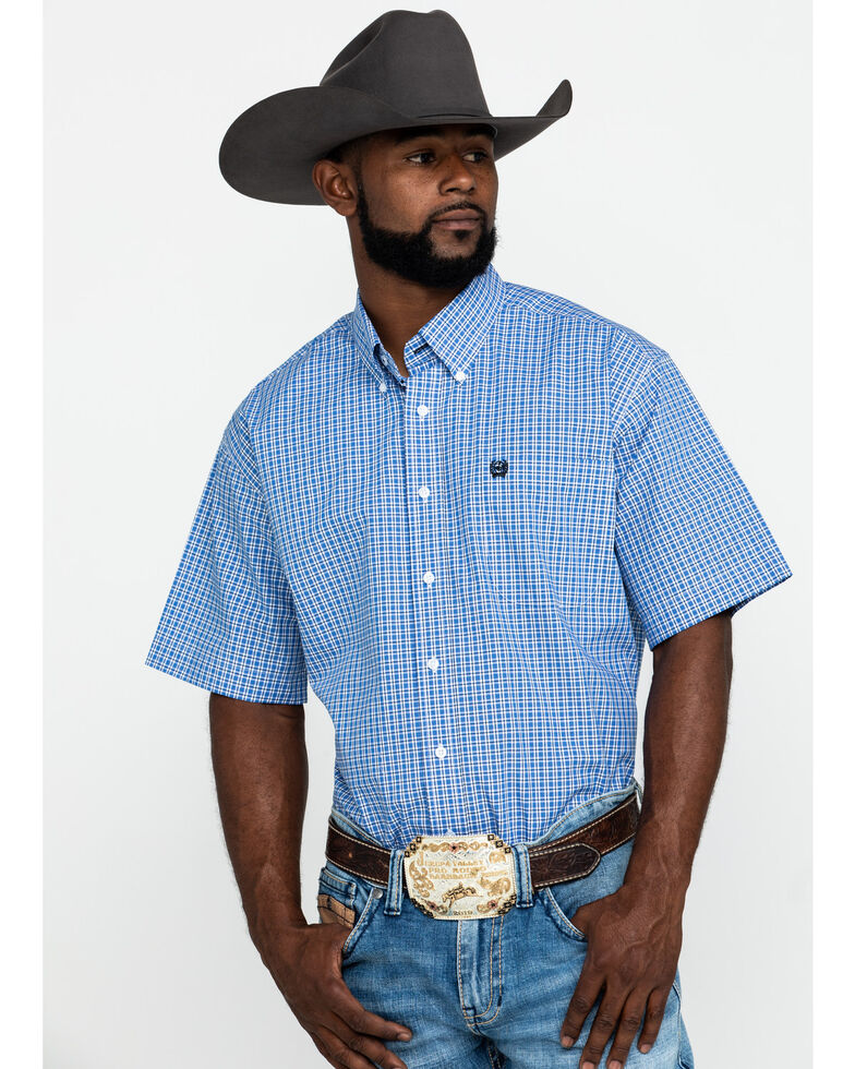 Cinch Men's Blue Small Plaid Short Sleeve Western Shirt , Blue, hi-res
