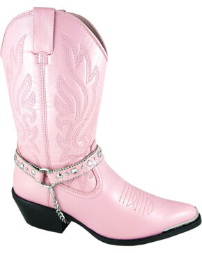 Smoky Mountain Charlotte Pink Harness Cowgirl Boots - Pointed Toe, Pink, hi-res
