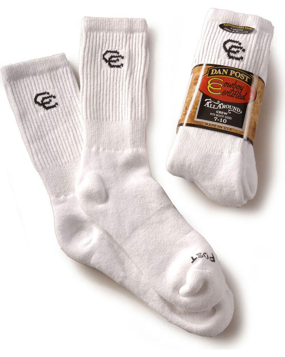 Dan Post Men's Cowboy Certified Crew Socks, White, hi-res