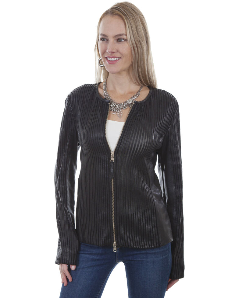 Leatherwear by Scully Women's Zip-Front Leather Jacket, Black, hi-res