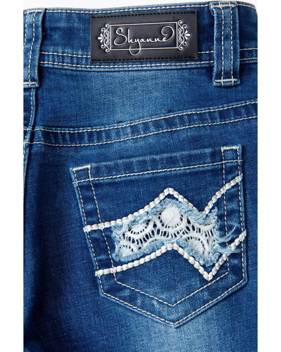 Shyanne Girls' Lace Pocket Med Wash Boot Jeans , Blue, hi-res