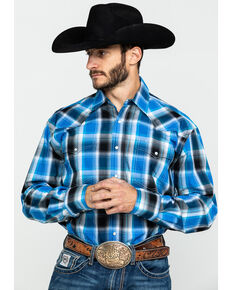 Roper Men's Amarillo Blue Star Plaid Long Sleeve Western Shirt , Blue, hi-res