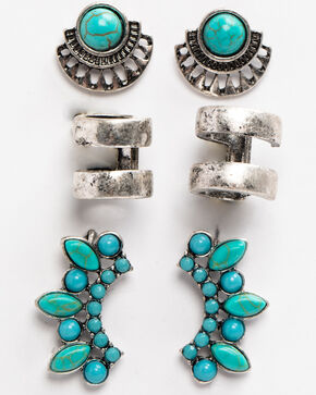 Idyllwind Women's Tomboy Turquoise Earring Set, Silver, hi-res