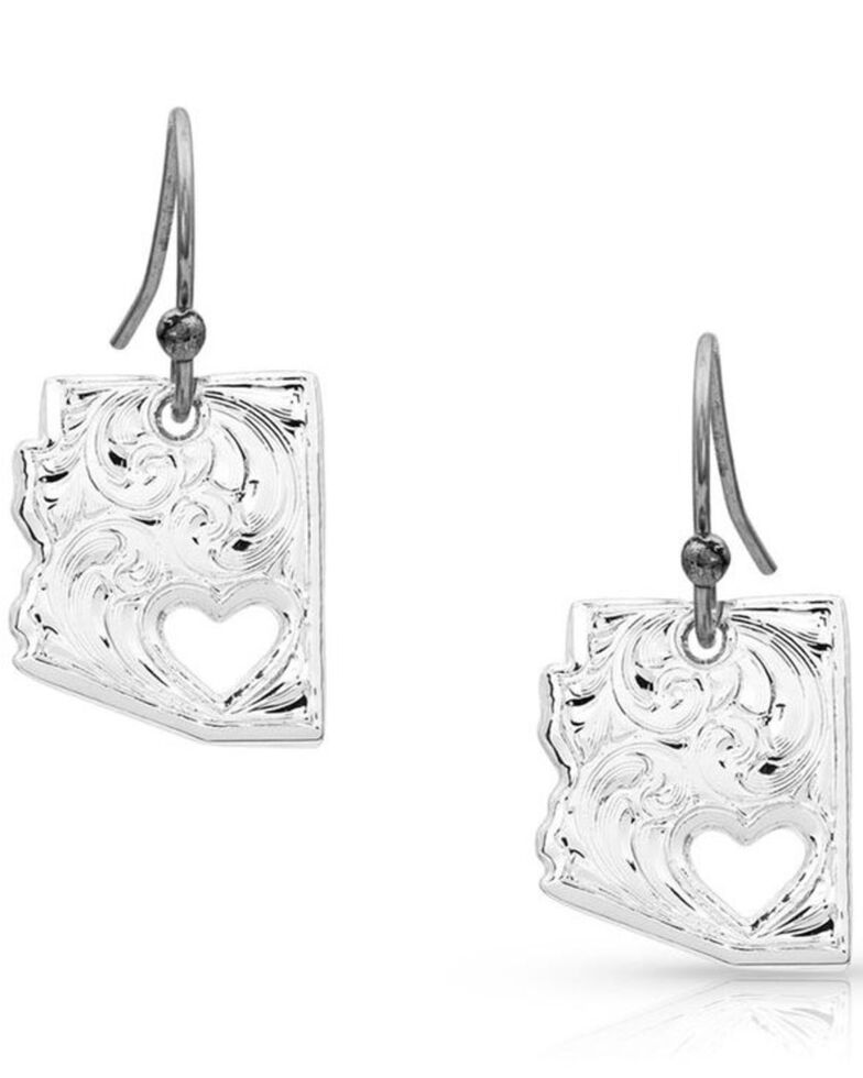 Montana Silversmiths Women's I Heart Arizona State Charm Earrings *BAD*, Silver, hi-res