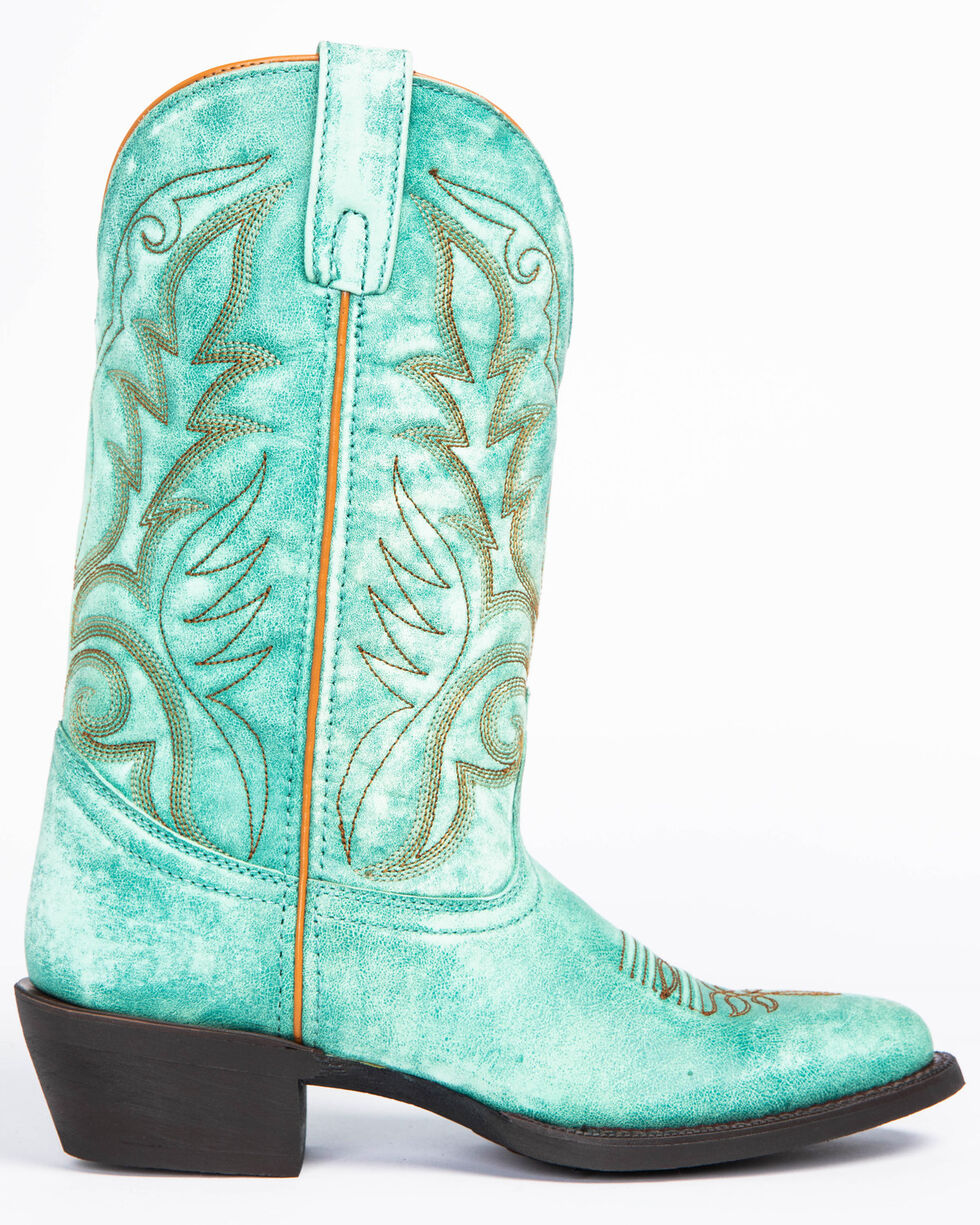 Laredo Women's Sofia Turquoise Leather Cowgirl Boots - Medium Toe, Turquoise, hi-res