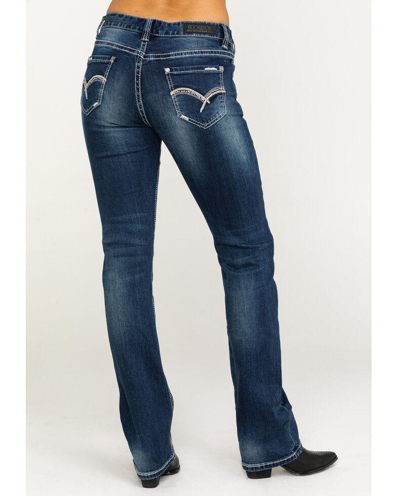 Rock & Roll Cowgirl Women's Dark Vintage Boyfriend Fit Straight Jeans, Blue, hi-res