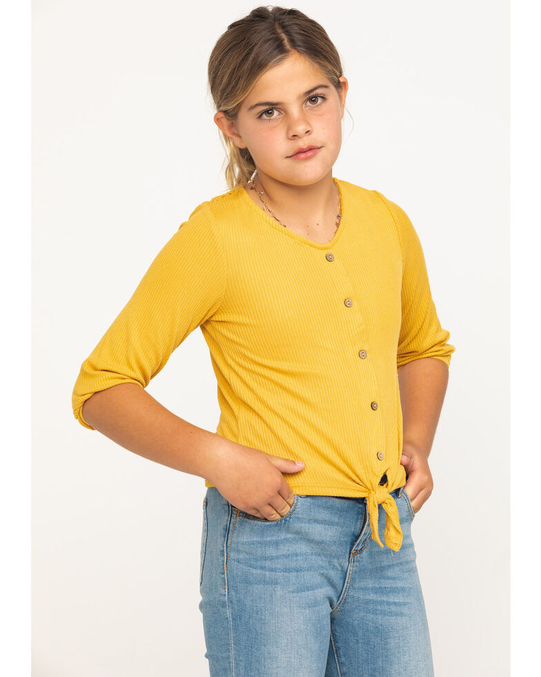Shyanne Girls' Mustard Tie-up Long Sleeve Lace Shirt, Dark Yellow, hi-res