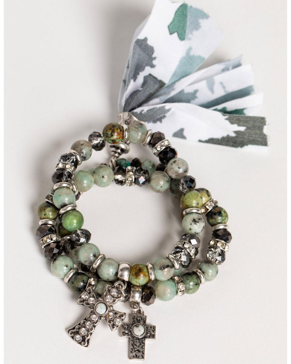 Shyanne Women's Jade Sea Fabric Tassel Multi Bracelet Set, Silver, hi-res
