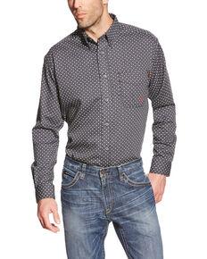 Ariat Men's Tyler Floulard FR Print Long Sleeve Work Shirt - Big , Black, hi-res