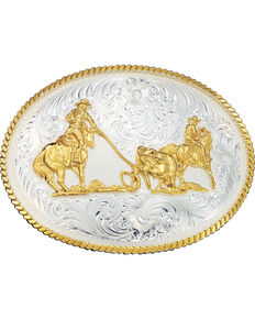 Montana Silversmiths Large Team Ropers Western Belt Buckle, Multi, hi-res