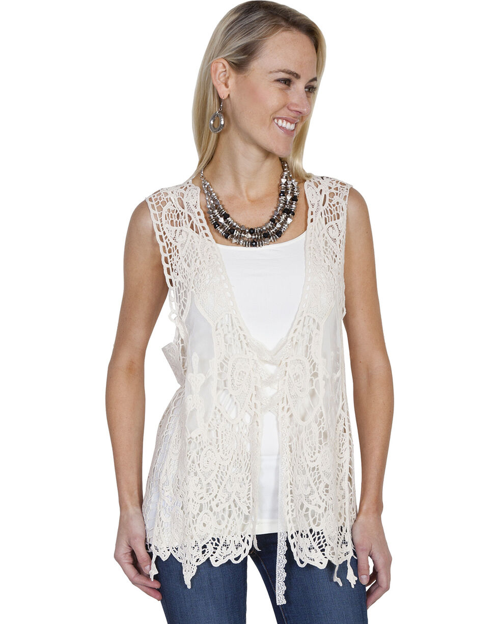 Scully Honey Creek Lace-Up Front Crochet Vest, Ivory, hi-res