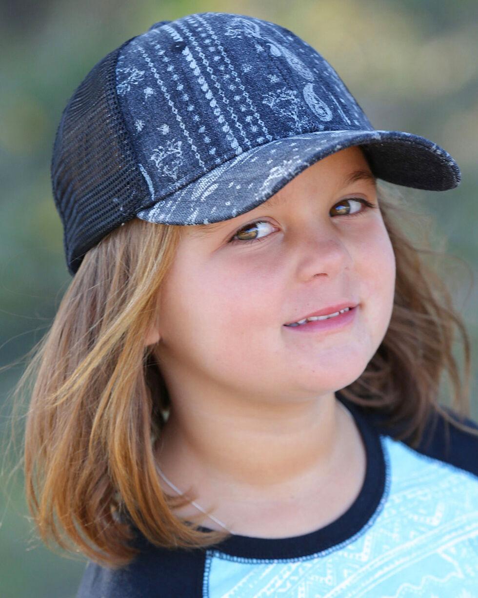 Cruel Girl Girls' Western Print Trucker Cap, Black, hi-res