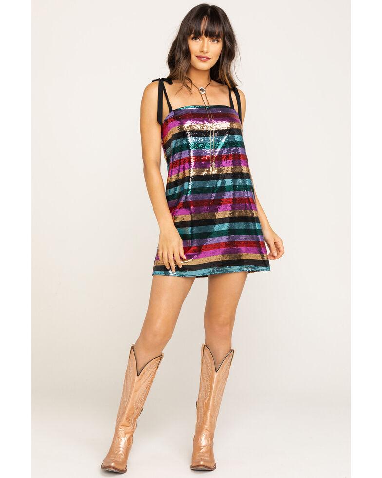 Show Me Your Mumu Women's Super Slip Tie Party Stripe Sequin Dress, Multi, hi-res