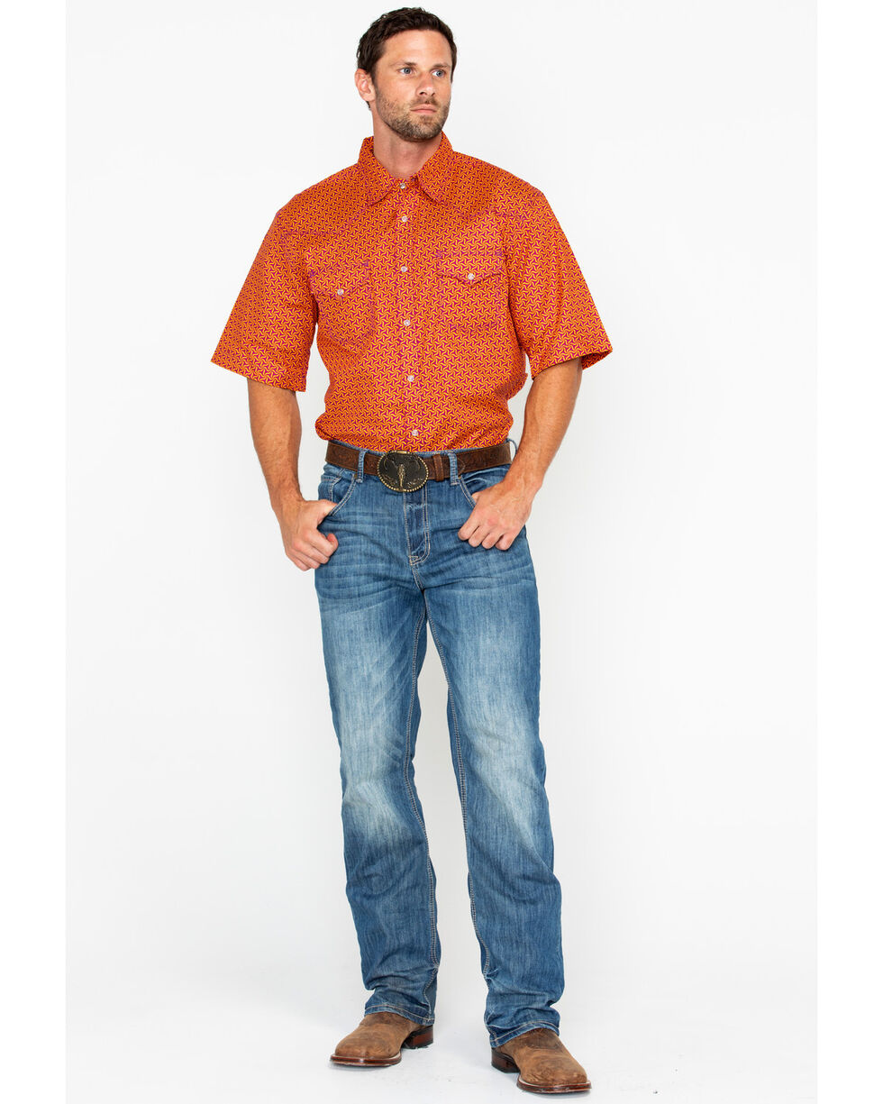 Wrangler 20X Men's Orange Advanced Comfort Short Sleeve Western Shirt, Red, hi-res