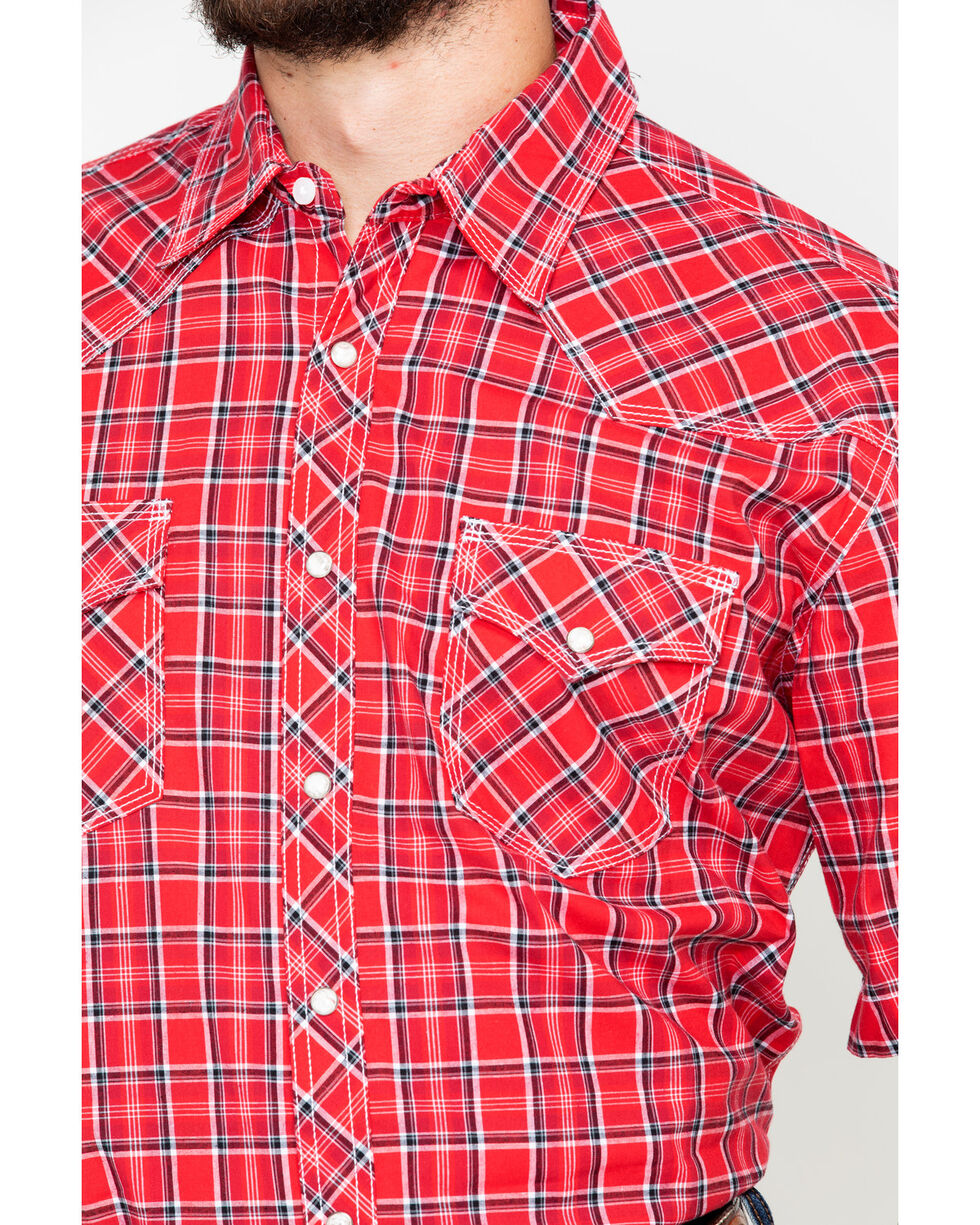 Wrangler 20X Men's Red Competition Advancaed Short Sleeve Western Shirt, Black/red, hi-res
