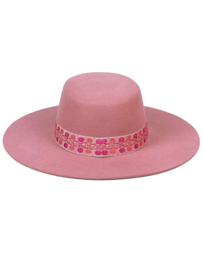Lack Of Color Women's Pink Sierra Rose Wool Boater Hat , Pink, hi-res