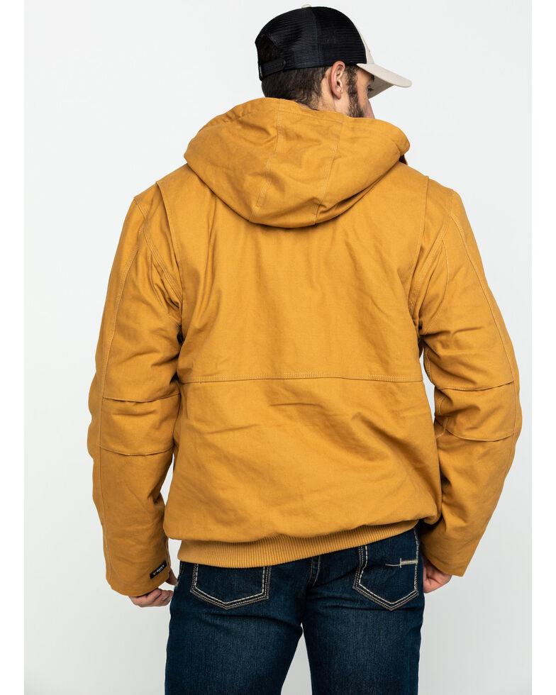 Hawx® Men's Brown Canvas Quilted Bi-Swing Hooded Zip Front Jacket , Brown, hi-res